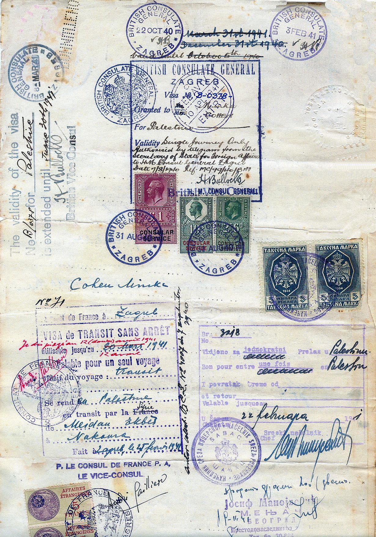 Minka Cohens Reisepass