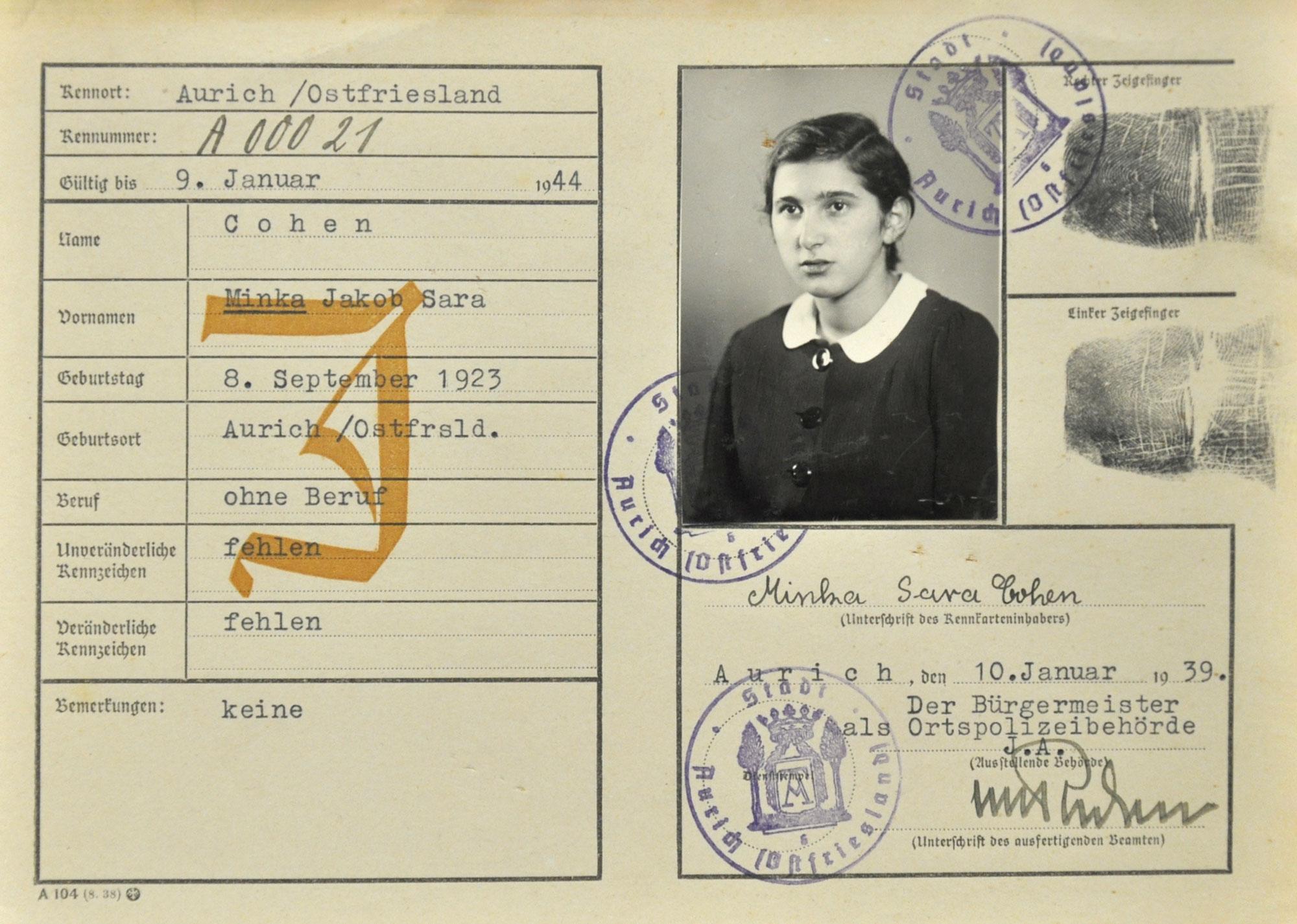 Minka Cohens Personalkarte