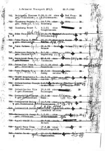"""Transportliste vom 20. September 1942 in das """"Altersghetto"""" Theresienstadt. Verzeichnet unter Nr. 727: Hedwig Hetemann."""