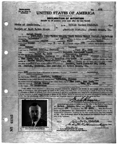 Einbürgerungsantrag von Erich Knurr aus dem Jahre 1939