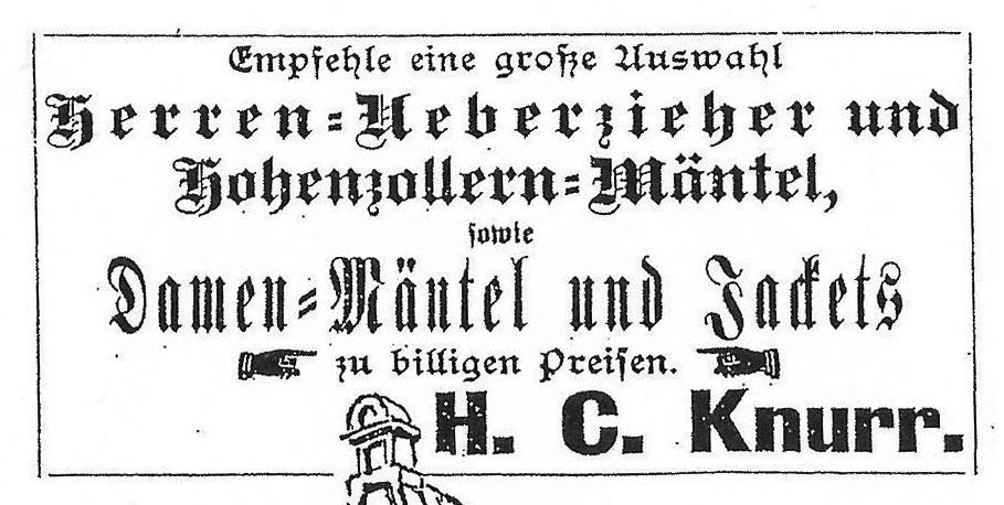 """In der """"Ostfriesischen Tageszeitung"""" inserierte das Fachgeschäft H.C. Knurr bis in die 1930er Jahre die Waren"""