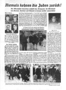 In der Ostfriesischen Tageszeitung wurde am 11. Februar 1942 – dreieinhalb Monate nach den Ereignissen der Vertreibung der letzten jüdischen Menschen aus Ostfriesland - berichtet. Der Beitrag wurde illustriert mit Fotos, die Menschen beim Verlassen des jüdischen Altenheims in Emden am 22./23. Oktober 1941 zeigen.