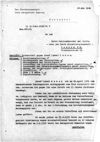 Schreiben an den Reichsjustizminister