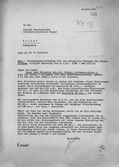 Verfügungsbescheid vom Februar 1942 an Jenny Fleischer-Alt, der ihr monatlich nur noch 500 Reichsmark zugesteht – für einen Haushalt von 10 Personen.