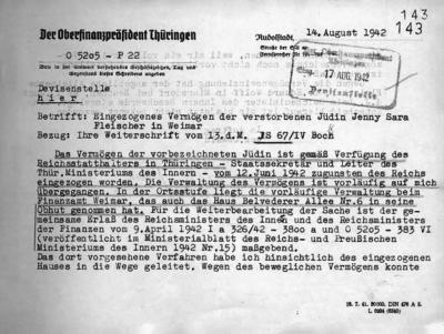 Jenny Fleischer-Alts Vermögen und die Villa samt Mobiliar werden von der Gestapo eingezogen, kaum dass die einst umworbene Künstlerin gestorben ist.