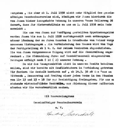 Die Restriktionen gegen Juden machen auch keinen Halt vor Emil Fischer: Er verliert das Recht, das von ihm bewohnte Haus im Hellerweg 26 zu erwerben und muss es innerhalb kurzer Zeit räumen.
