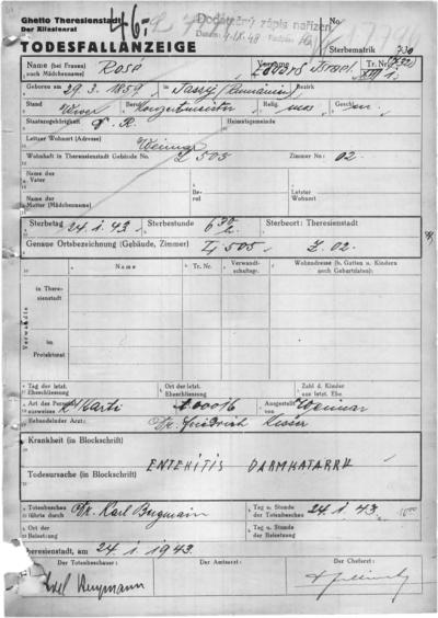 Todesfallanzeige Eduard Rosés aus dem Ghetto Theresienstadt vom Januar 1943