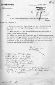 """Der handschriftliche Zusatz entlarvt die vordergründige Erklärung, warum Bibliotheksrat Ortlepp nicht weiter beschäftigt werden kann. Nicht finanzielle Gründe spielten eine Rolle, sondern: """"die Ehefrau ist Jüdin""""."""